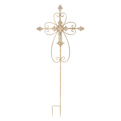 Simple Scroll Cross Metal Yard Stake
