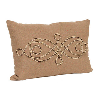 Tan Scroll Rope Accent Pillow