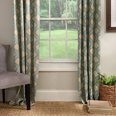 Aqua Vanness Curtain Panel Set, 96 in.