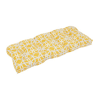Geometric Yellow Outdoor Settee Cushion
