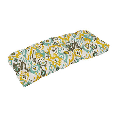 Blue and Yellow Ikat Outdoor Settee Cushion
