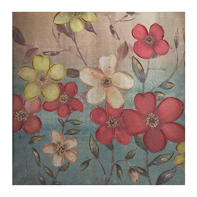 Dancing Florals Metallic Canvas Art Print