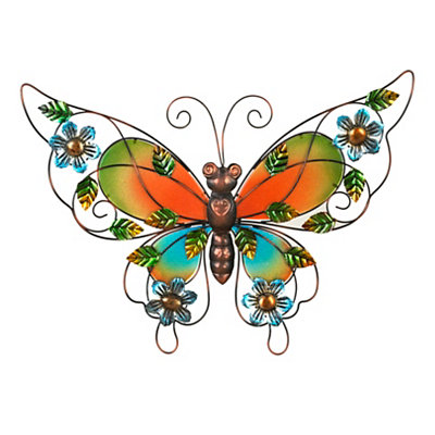 Glass Butterfly Metal Wall Plaque