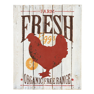 White Farm Fresh Eggs Wooden Plaque