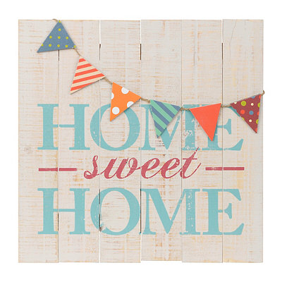 Home Sweet Home Pennant Banner Wooden Plaque