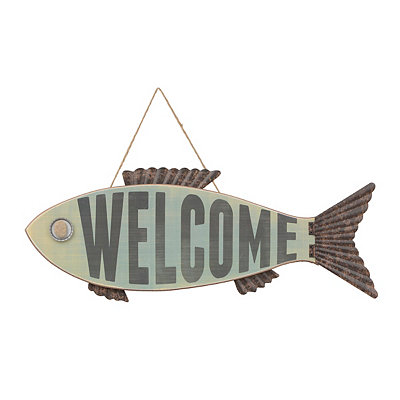 Welcome Fish Wooden Plaque