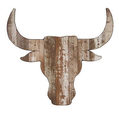 Distressed Steer Head Wooden Plaque