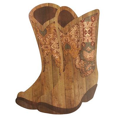 Rustic Cowboy Boots Wooden Plaque