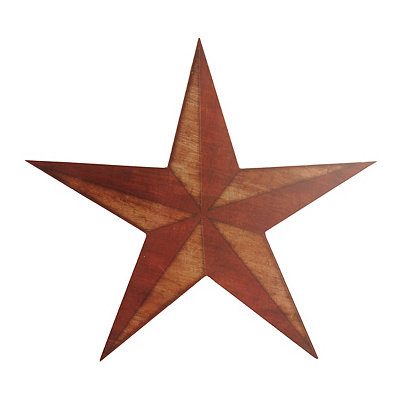 Rustic Red Star Wooden Plaque