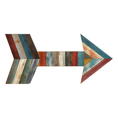 Slatted Wood Plank Arrow Plaque