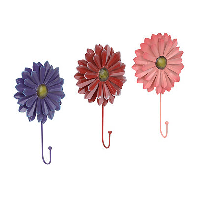 Summer Breeze Metal Flower Wall Hooks, Set of 3