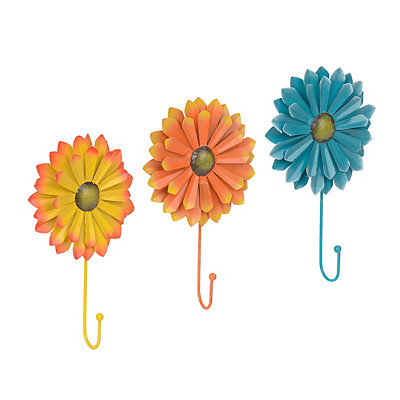Sunny Days Metal Flower Wall Hooks, Set of 3