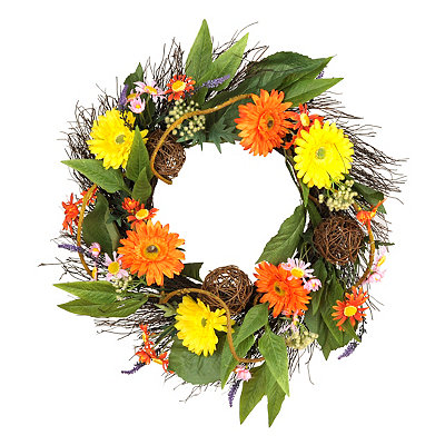 Orange And Yellow Daisy Wreath