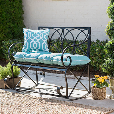 Black Geometric Outdoor Metal Bench Rocker