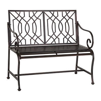 Distressed Black Lattice Outdoor Metal Bench