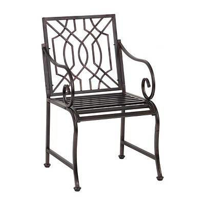 Distressed Black Lattice Outdoor Metal Chair