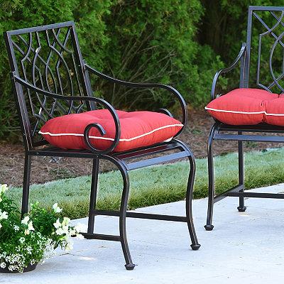 Distressed Black Lattice Outdoor Metal Chair