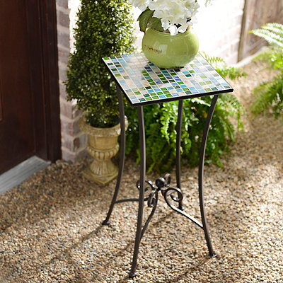 Blue & Green Mosaic Tile Plant Stand