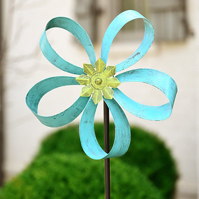 Turquoise Flower Spinner Lawn Stake