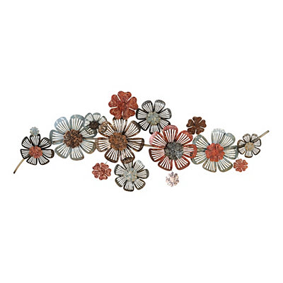 Distressed Floral Metal Wall Plaque