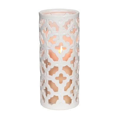 Ceramic White Quatrefoil Hurricane