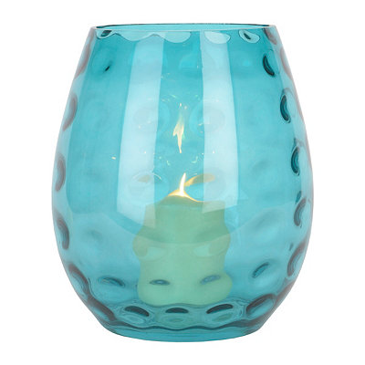 Teal Hammered Glass Hurricane