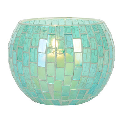 Green Mosaic Glass Hurricane