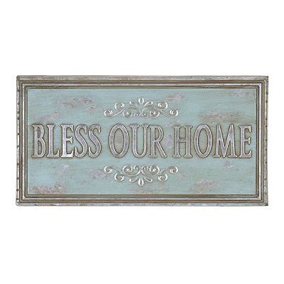 Aqua Bless Our Home Metal Plaque