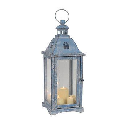 Large Rustic Sky Blue Window Lantern