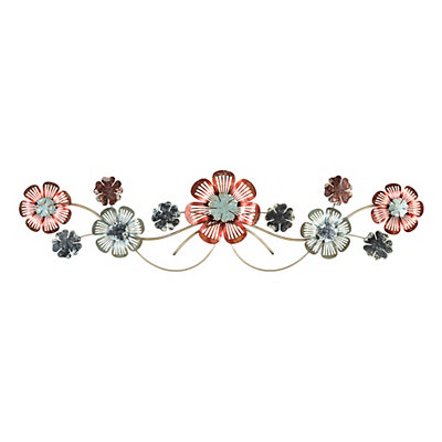 Spring Floral Scroll Metal Plaque