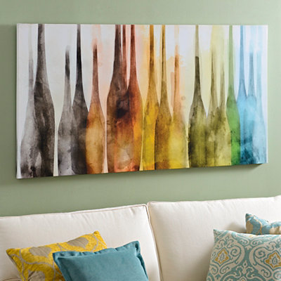 Abstract Wine Bottles Canvas Art Print