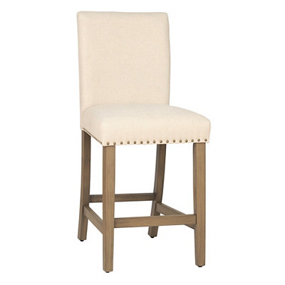 Cream Linen Bar Stool, 41 in.