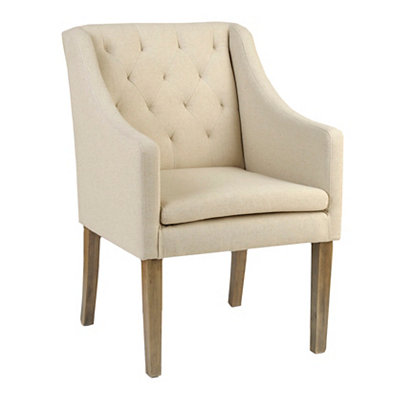 Oatmeal Linen Tufted Arm Chair