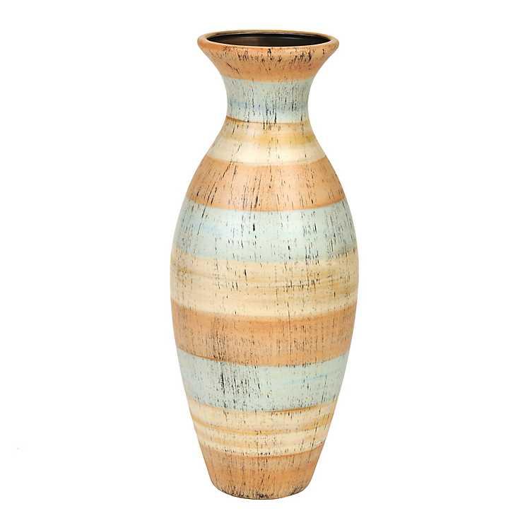 striped natural ceramic vase kirklands