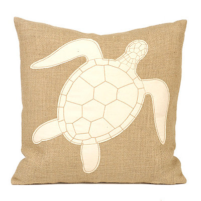 Burlap Sea Turtle Pillow