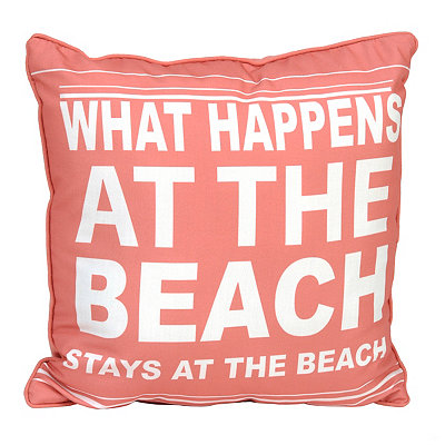 Coral What Happens at the Beach Pillow