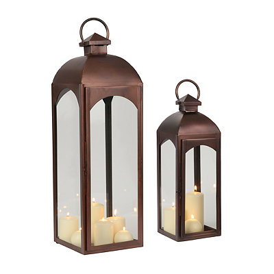 Copper Metal Lanterns, Set of 2