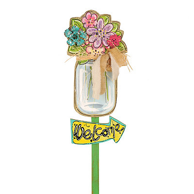 Mason Jar Welcome Yard Stake