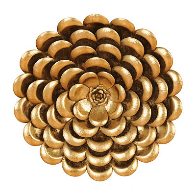 Metallic Gold Flower Metal Plaque, 20 in.
