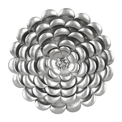 Metallic Silver Flower Metal Plaque, 20 in.