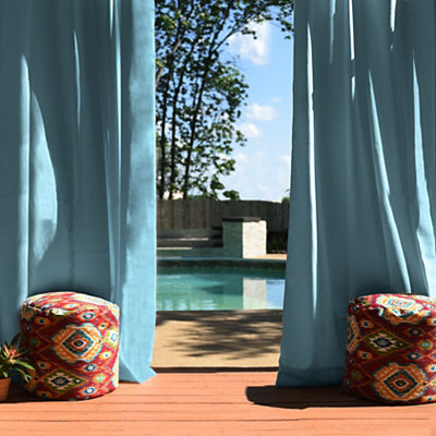 Solid Aqua Outdoor Curtain Panel, 96 in.