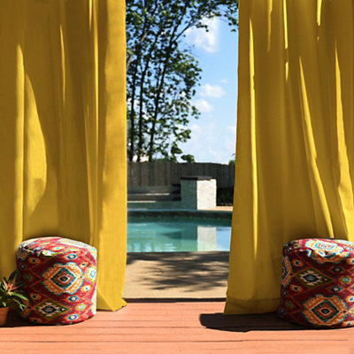 Solid Yellow Outdoor Curtain Panel, 84 in.