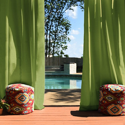 Solid Green Outdoor Curtain Panel, 96 in.