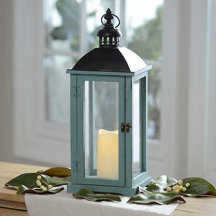 Turquoise Wood And Metal Led Lantern Kirklands