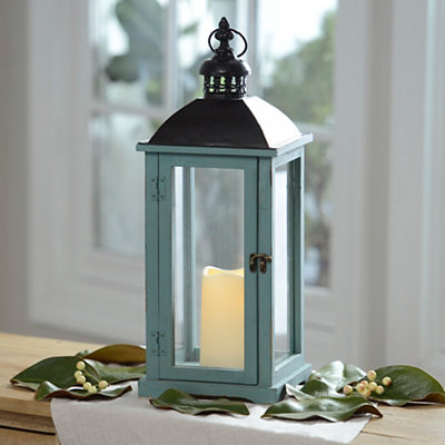 Turquoise Wood and Metal LED Lantern