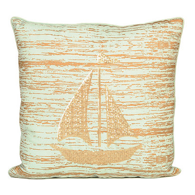 Metallic Sailboat Pillow
