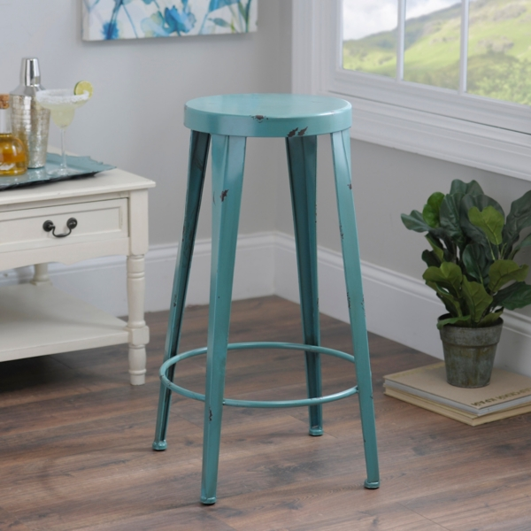 & Blue Metal Bar Stool | Kirklands islam-shia.org