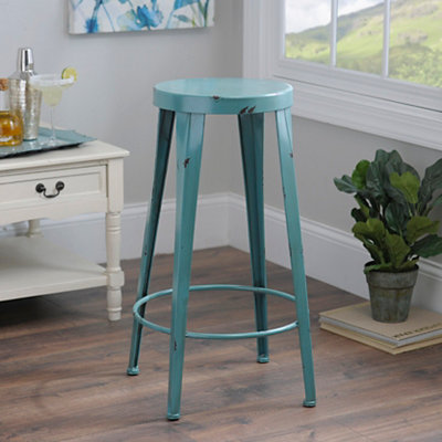 Blue Metal Bar Stool