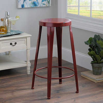 Red Metal Bar Stool