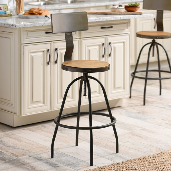 kitchen decorations. Brown Industrial Bar Stool Kitchen Decorations  Kirklands